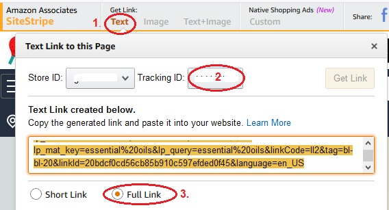 How to choose your Amazon text link